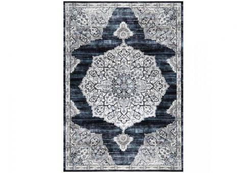 BRAND NEW 8x10 Area Rug, Navy blue/White/Beige Pattern